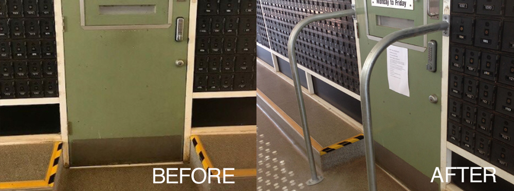 post office, maintenance, work safety, customer safety, commercial maintenance, high step, protection, handlebars, handrails, balustrade, Cairns, Atherton, Tablelands, fnq, handyman, before and after