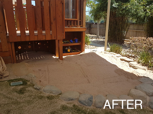 daycare, kindy, kindergarten, sandpit, maintenance, renew, cairns, fnq, childcare, repairs, replacement, handyman, tidy, tidy up, before and after, playground maintenance