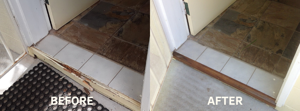 rotten timber in doorway before and after