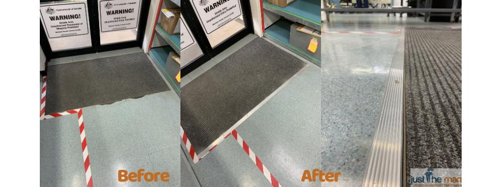 vinyl floor repair, edging strip repair, trip hazard, cairns, fnq, handyman